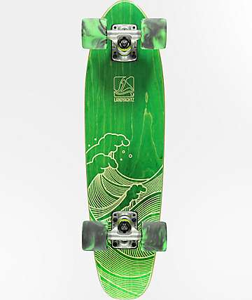 "Landyachtz Mini Dinghy Green Waves 26"" Cruiser Complete Skateboard"