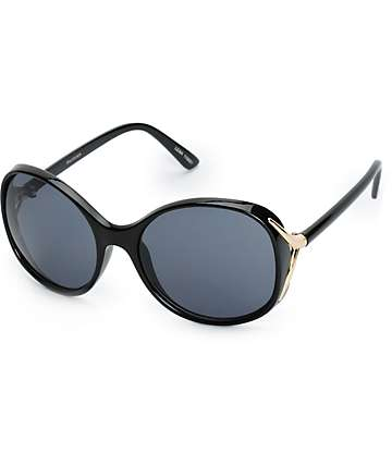Leah Gold Temple Large Round Sunglasses