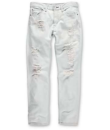 Levi Thrashed 511 White Ripped Slim Denim Jeans