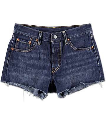 Levi's 501 Dark Fray Hem Shorts