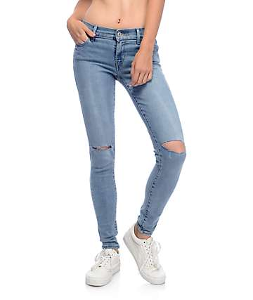 Levi's 710 Super Skinny Light Wash Destroyed Jeans