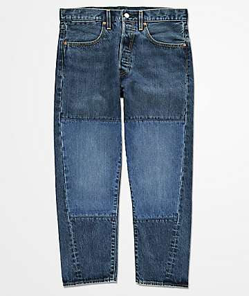 Levi's Drop Crop Puzzle Pieced Indigo Jeans