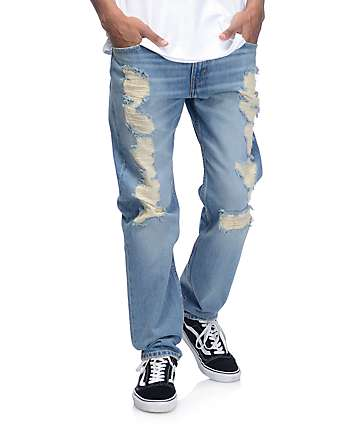 Levi's Razza Ripped Medium Blue 502 Jeans