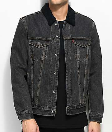 Levi's Type III Black Washed Sherpa Trucker Jacket