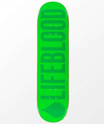 "Lifeblood Logo Double Green 8.25"" Skateboard Deck"