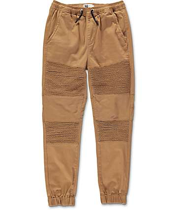 Lira Cardinal Dark Khaki Moto Twill Jogger Pants