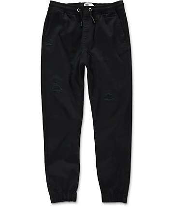 Lira Rodeo Destructed Twill Black Jogger Pants