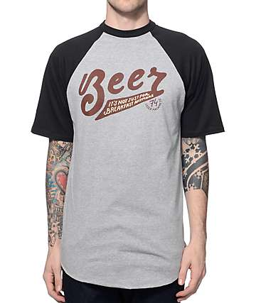 Loser Machine Breakfast Food Black & Grey Raglan T-Shirt