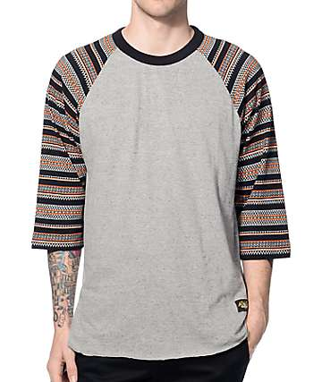 Loser Machine Co. Ricardo Jacquard Black & Grey Baseball T-Shirt