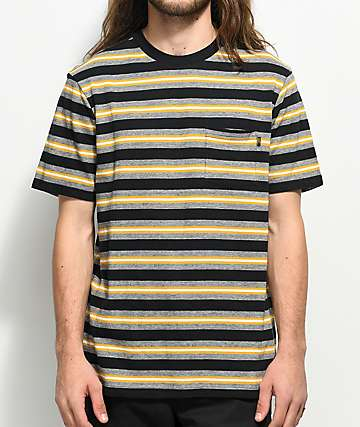 Loser Machine Paramount Gold & Black Striped Knit T-Shirt
