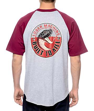 Loser Machine Snake Oil Grey & Burgundy Raglan T-Shirt