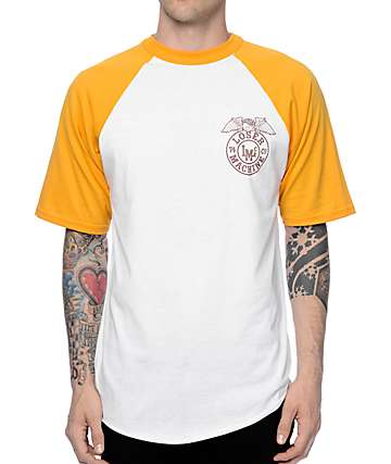 Loser Machine Stamped Yellow & White Baseball T-Shirt