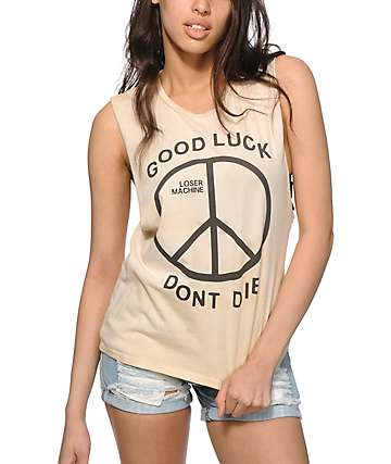 Loser Machine Trench Light Dirty Wash Muscle Tank Top