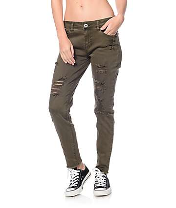 Love, Fire Andrea Olive Destroyed Skinny Jeans