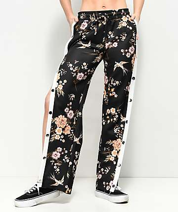 Love, Fire Black Floral Tear Away Track Pants
