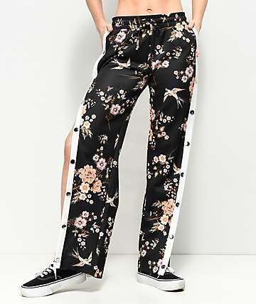 Love, Fire Black Floral Tear Away pantalones de chándal