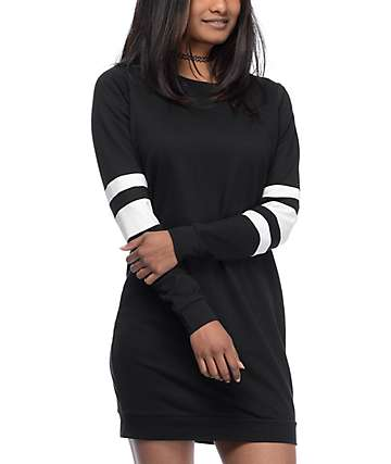 Love, Fire Black Sweatshirt Dress
