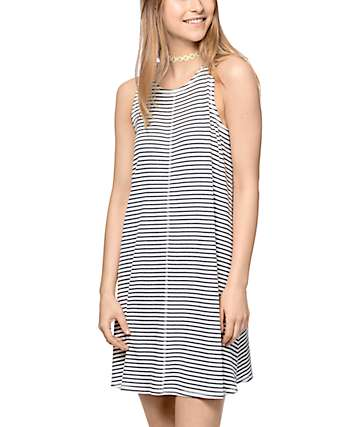 Love, Fire Brody Cream Striped Knit Dress