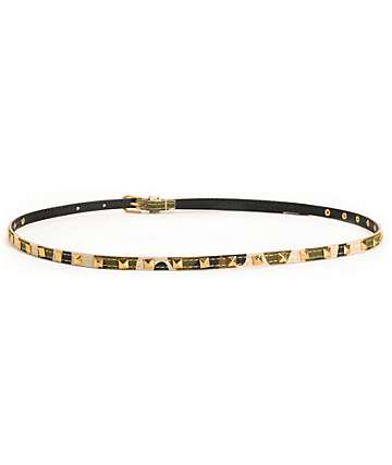 Love, Fire Camo Pyramid Studded Skinny Belt