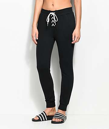 Love, Fire Corinne Black Lace Up Jogger Sweatpants