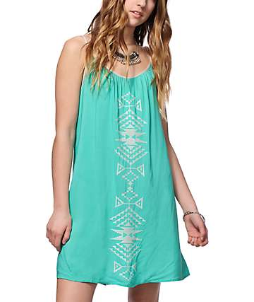 Love, Fire Evie Mint Embroidered Shift Dress