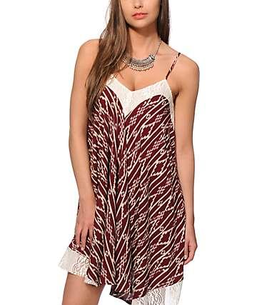 Love, Fire Kabri Burgundy Tribal Dress