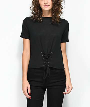 Love, Fire Kimmy Black Corset Top