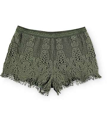 Love, Fire Olive Crochet Shorts
