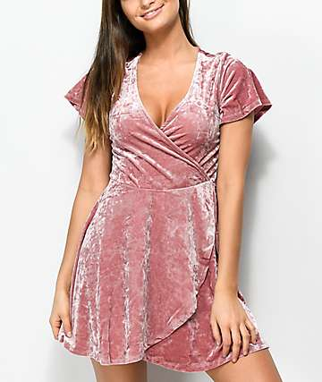 Love, Fire Pink Crushed Velvet Short Sleeve Wrap Dress