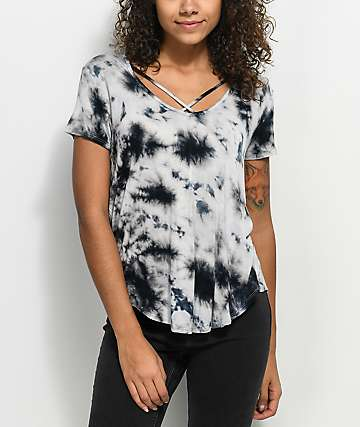 Love, Fire Regan Cross Front Blue Tie Dye Top