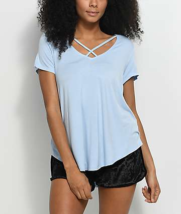 Love, Fire Regan Pale Blue Cross Front Top