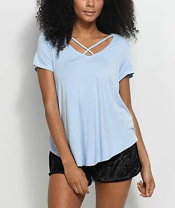 Love, Fire Regan camiseta en azul claro