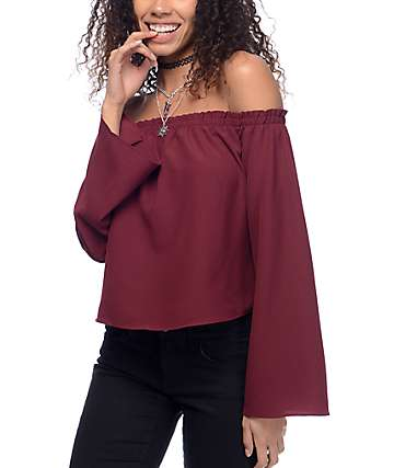Love, Fire Susie Off The Shoulder Burgundy Top