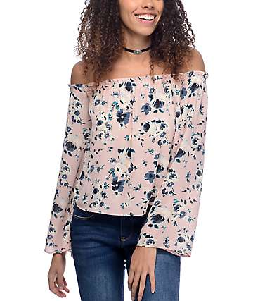 Love, Fire Susie camiseta rosa con cuello bardot