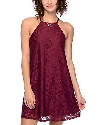 Love, Fire Tawny Burgundy Sleeveless A-Line Dress