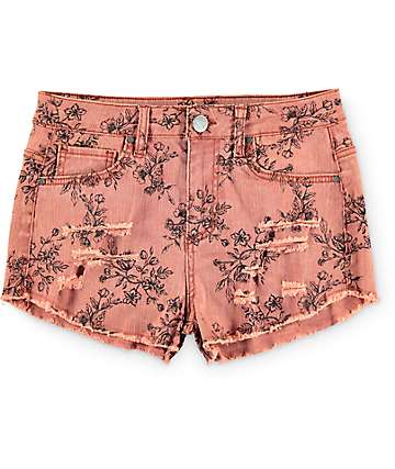 Love, Fire Washed Coral Floral Destroyed Short