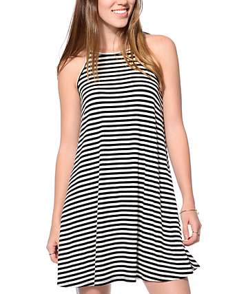 Love, Fire Wyatt Black Cream Stripe Tank Dress