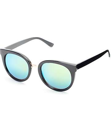 Love Fox Black & Green Cateye Sunglasses