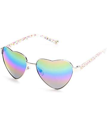 Love Shack Glitter Heart Sunglasses