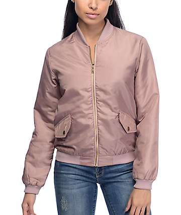Love. Fire Natalia Blush Nylon Bomber Jacket