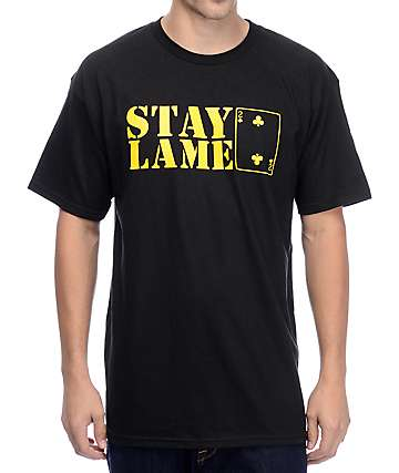 Low Card Stay Lame Black T-Shirt