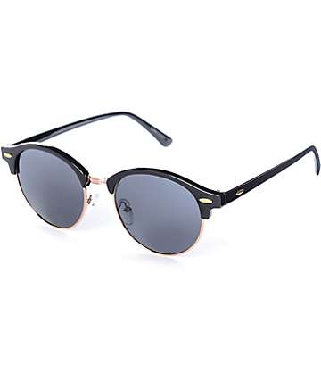 Luna Round Black & Rose Gold Retro Sunglasses