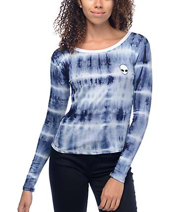 Lunachix Alien Embroidered Blue Tie Dye Long Sleeve Ringer T-Shirt