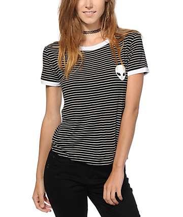 Lunachix Alien Stripe Ringer T-Shirt