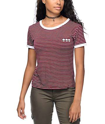 Lunachix Alien camiseta ringer rayada en color borgoño
