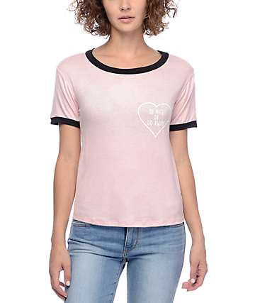 Lunachix Be Nice Or Go Away Pink & Black Ringer T-Shirt