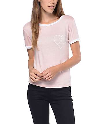 Lunachix Be Nice Or Go Away Pink Ringer T-Shirt