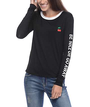 Lunachix Be Nice Or Go Black Long Sleeve T-Shirt
