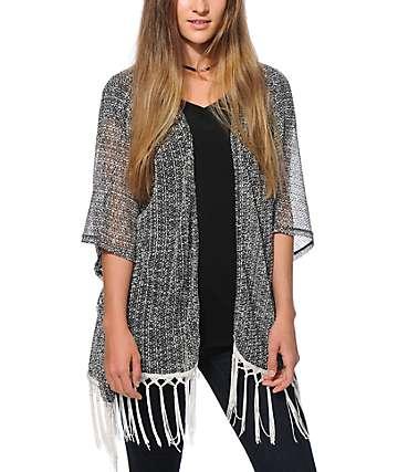 Lunachix Black & White Fringe Kimono