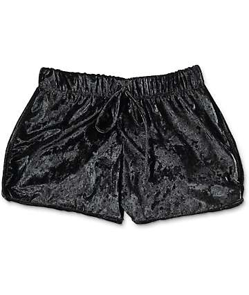 Lunachix Black Crushed Velvet Shorts